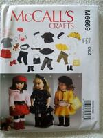 """McCALL'S PATTERN M6669 FOR AMERICAN GIRL OR ANY 18""""DOLL"""