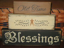PRIMITIVE  COUNTRY OLD TIME  BLESSINGS  3PC BLOCK SET