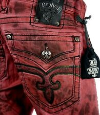 "$220 Mens Rock Revival Jean ""Blood Red Acid Shorts"" Leather Insert Size 44 Rare!"