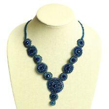 "NE114 Elegant Blue Crystals Czech Glass Basket Weave Necklace Magnet Clasp 22"""