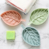 Bath Shower Holder  Drain Dish Hiking Container Soap Box Leaf Shape Organizer