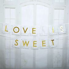 CANDY BAR BUNTING Buffet FLAGS 2m SCRIPTED MARBLE Wedding LOVE IS SWEET Gold