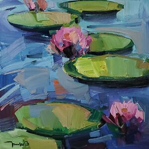 JOSE TRUJILLO Oil Painting IMPRESSIONISM CONTEMPORARY COLLECTIBLE WATERLILIES