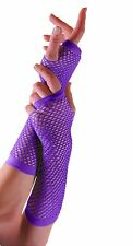 Ladies Purple Long Fishnet Gloves Fingerless Party Neon Hen 80s Cindy Punk New