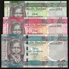 SOUTH SUDAN 1 5 10 Pounds SET 3 PCS 2011 P-5 6 7 UNC Uncirculated
