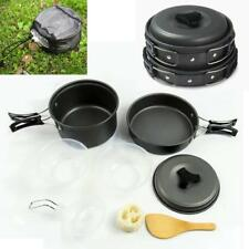 8pcs Outdoor Camping Cookware Cooking Picnic Bowl Pot Pan Set Portable Hiking UP