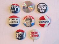 7 VINTAGE POLITICAL BUTTONS - KENNEDY, GOLDWATER, NIXON, IKE, JOHNSON  - TUB RRR