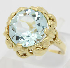 ♦♦Blautopas Ring in aus 585 14kt Gelb Gold mit Topas Topasring Topase Goldring♦