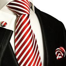 Krawatten Set 3tlg rot weiß 100% SEIDE Paul Malone 852