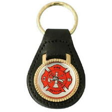 Fire Department Rescue Fireman Firefighter Maltese Cross Leather Key FOB Ring