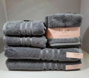 KATE SPADE New York Dark GRAY 8 Piece Bathroom Towel Set 100% Cotton - NEW