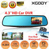 "4.3"" Dual Lens FHD 1080P Dash Cam Car DVR Rearview Mirror Camera Video Recorder"