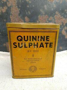 1932 Vintage Rare Bandoensgche Kininefabriek Java Quinine Sulphate Tin Germany