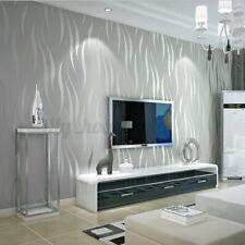 10M 3D Vliestapete Vlies Tapete Wellen Streifen Barock Design Ornament grau
