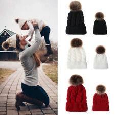 Women Kids Baby Mom Warm Winter Knit Beanie Fur Pom Pom Hat Crochet Ski Ball Cap