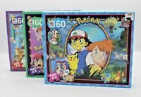 (3) Vintage Pokemon Puzzles 60 Piece Each Team Rocket SEALED Hasbro Milton Brdly