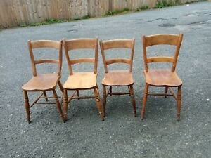 Set Of 4 Vintage Pine Chairs