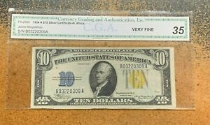 1934 A $10 SILVER CERTIFICATE Yellow Seal NORTH AFRICA WWII Issue Note VF30