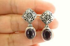 Purple Amethyst Ornate 925 Sterling Silver Dangle Post Earrings