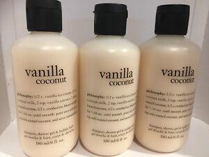 3x Philosophy Vanilla Coconut Shampoo Shower Gel & Bubble-bath 6oz/180ml Sealed