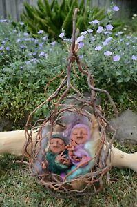 OOAK Artist Dolls Handmade Sculpted sleeping baby gnomes children in Nest