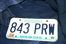 2002 Missouri License Plate # 843 PRW