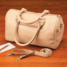 "BRAND NIP Soft Leather-Like Beige SATCHEL Bag/Purse w/Detachable Strap - 12"" L"