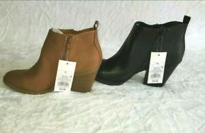 Universal Thread Women's Jameson Faux Leather Double Zip Bootie Black/Cognac!!!!