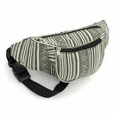 Black Striped Bum Bag Travel Fanny Pack Waist Money Belt Bags
