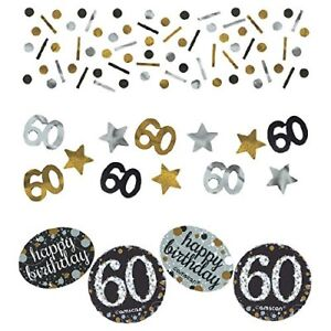 60th Confetti Milestone Birthday Silver Gold Sparkling Glitter Party Decorations