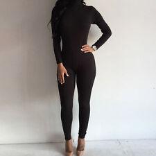 Women Turtleneck Long Sleeve Jumpsuit Bodysuit Bodycon Rompers Long Pants 6-14