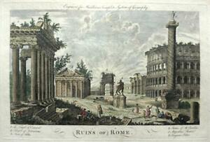 RUINS OF ROME ITALY c1778 GENUINE ANTIQUE COPPERPLATE ENGRAVING