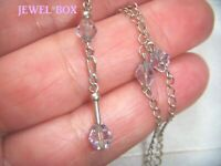 VINTAGE JEWELLERY STERLING SILVER Lilac CRYSTAL Dainty DROPPER Pendant NECKLACE