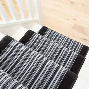 Long Black Grey Striped Stair Carpet Stairs Hallway Carpet Runners Sold in Feet