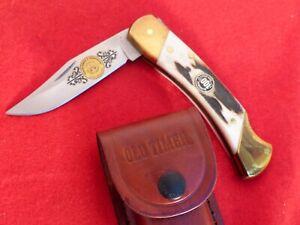 "Schrade USA 2004 Genuine STAG 5"" FBI etch Lockback Knife & sheath MINT"