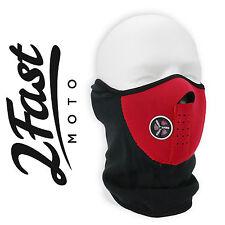 Red Half Face Fleece Neoprene Mask With Mesh Ventilation ATV UTV QUAD 4 Wheeler