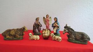 """VINTAGE NATIVITY 8 Piece SET Marked ITALY HAND PAINTED Chalk 5"""" EC"""