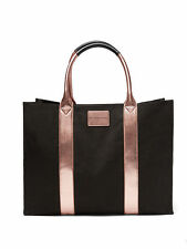 VICTORIA'S SECRET BLACK & ROSE GOLD TOTE STANDING TRAVEL BAG OVERSIZED HUGE BAG
