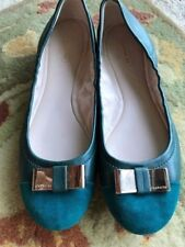 Coach Ballet Flats Slip On Shoes Size 8 B M Teal Green w/ Gold Bow NWOT So Cute!