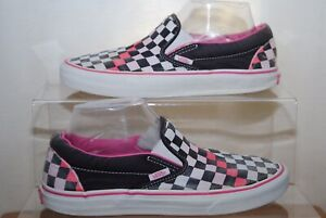Vans Off The Wall Ladies Black White Pink Canvas Shoes Uk Size 6