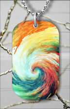 Necklace Pendant Free Chain -Yfg6z Artist Paint Waves Swirls Dog Tag