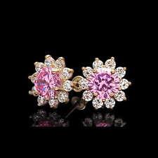 2CT Created Pink Tourmaline Diamond Earrings 14k Yellow Gold Studs Screwback
