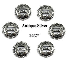 """LOT OF 6 CONCHOS ANTIQUE SILVER SLOTTED SCALLOPED WESTERN RODEO FA 4834 1-1/2 """""""