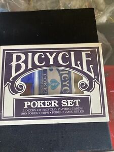 Brand NEW  Bicycle Poker Set  2 decks of cards and 200 poker chips
