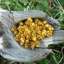 90 perles fleurs / roses métal aluminium 9 ,5 mm (Orange)