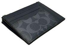 COACH 'Sig CC' Men's Coated Canvas Multiway Zip Card / ID Case Denim/Black *NWT*