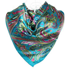 Foulard  100% Soie Bleu  motif Cachemire silk séide scarf shawl