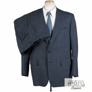 HICKEY FREEMAN Classic Suit 43R Sapphire Blue Navy Glen Plaid Wool 3/2 Lapel
