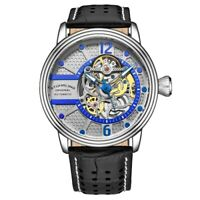 Stuhrling 3971 4 Automatic Skeleton Black Leather Strap Mens Watch