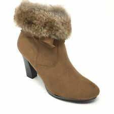 9d8445cd9f85 Women s NEW Dana Buchman Ankle Boots Shoes Size 7M Brown Faux Fur Zip Up AE9